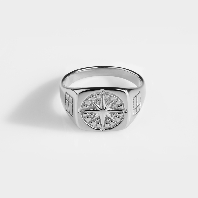 Northern Legacy Compass Ring Silver