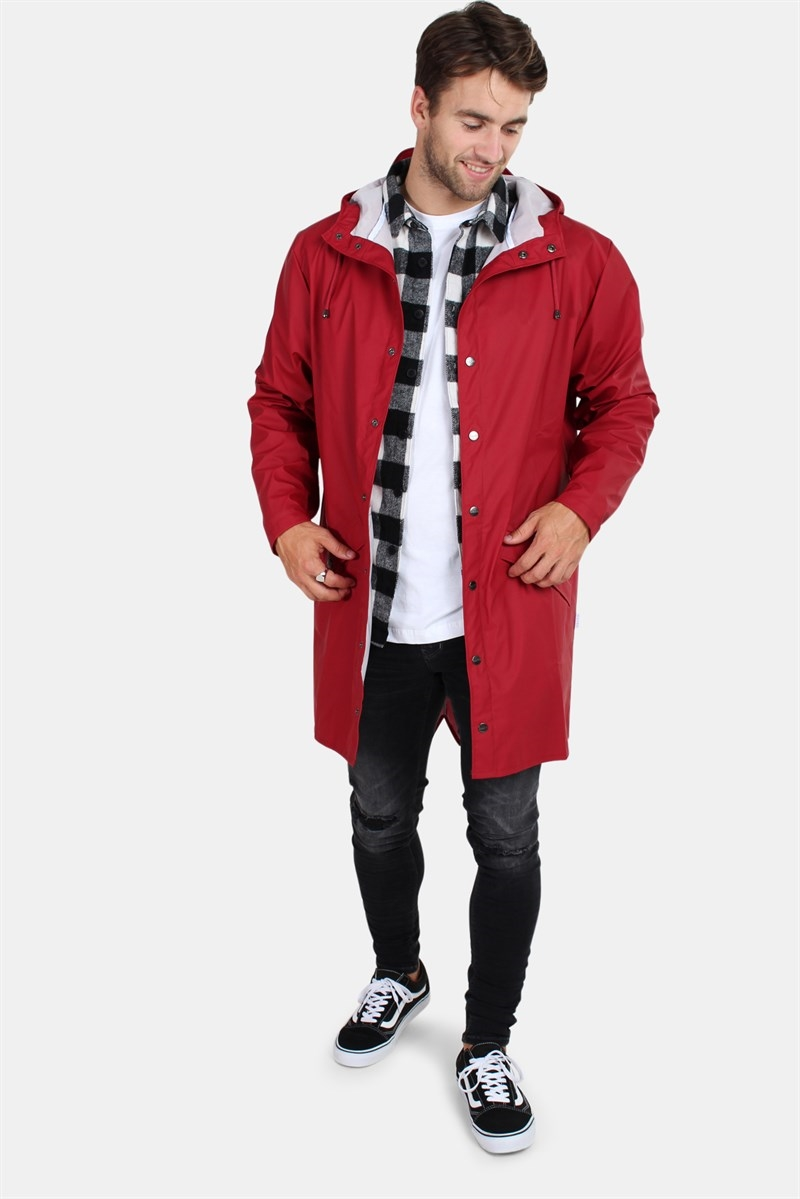 Rains Long Jacket Scarlet