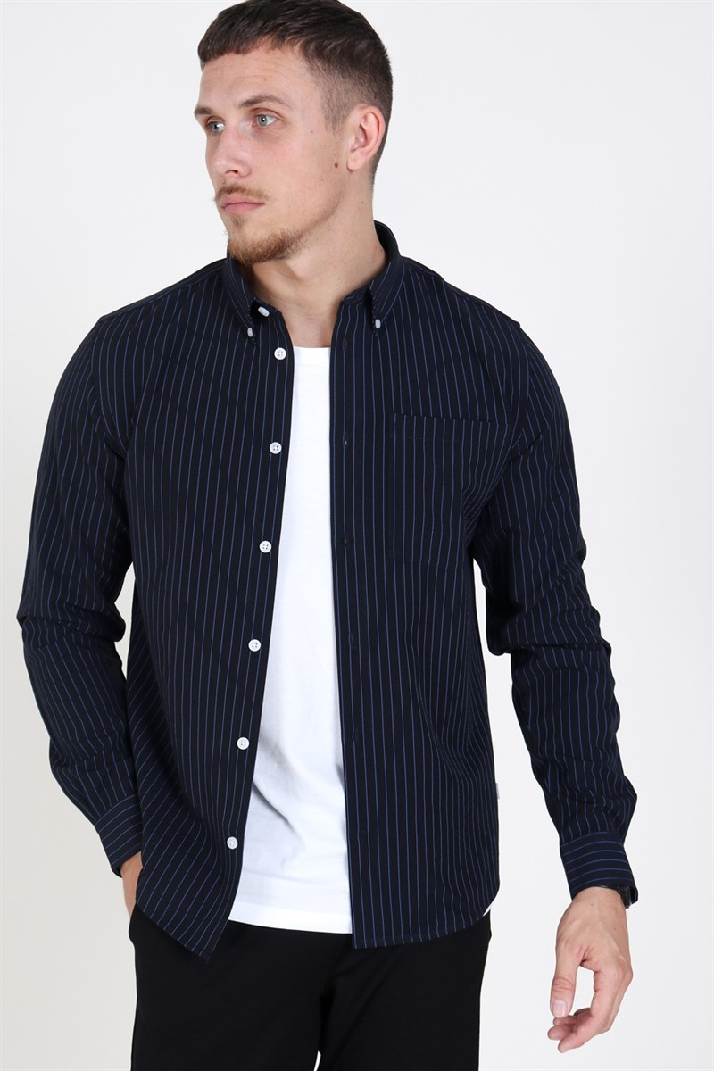 Woodbird Crally Stripe Shirt Navy